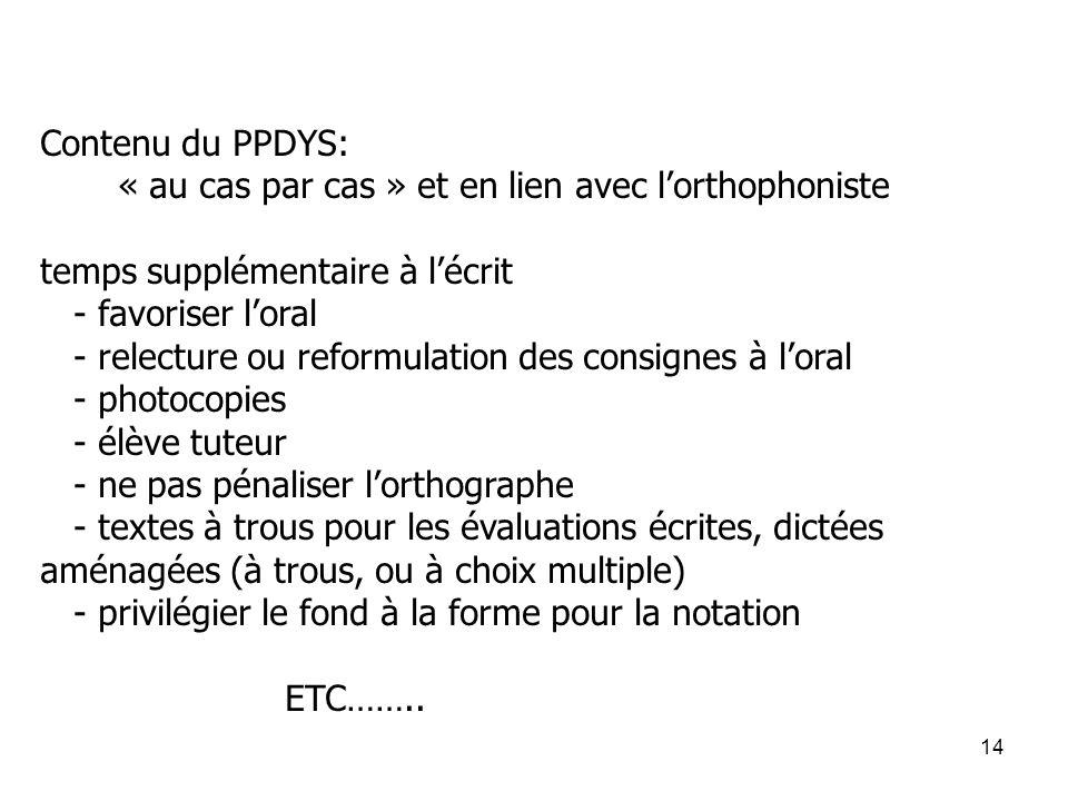 Contenu du PPDYS: « au cas par cas » et en lien avec l'orthophoniste. temps supplémentaire à l'écrit.
