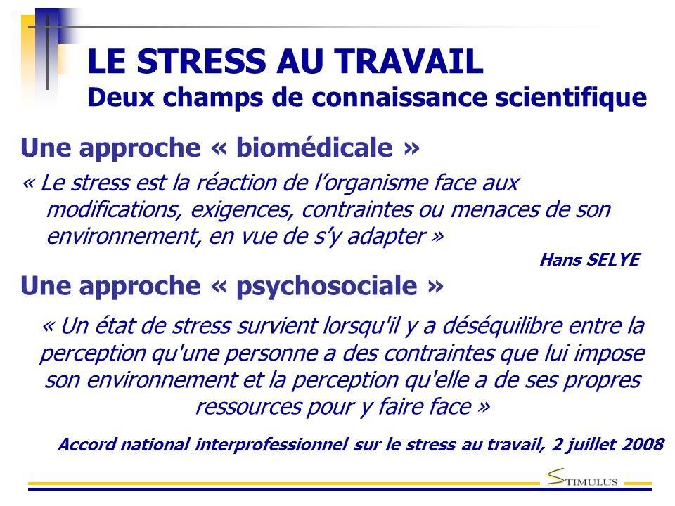 LE STRESS AU TRAVAIL Deux champs de connaissance scientifique