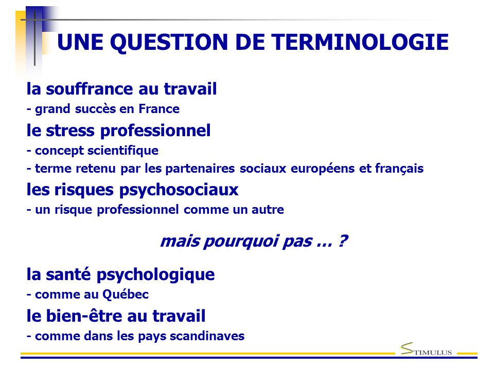 UNE QUESTION DE TERMINOLOGIE