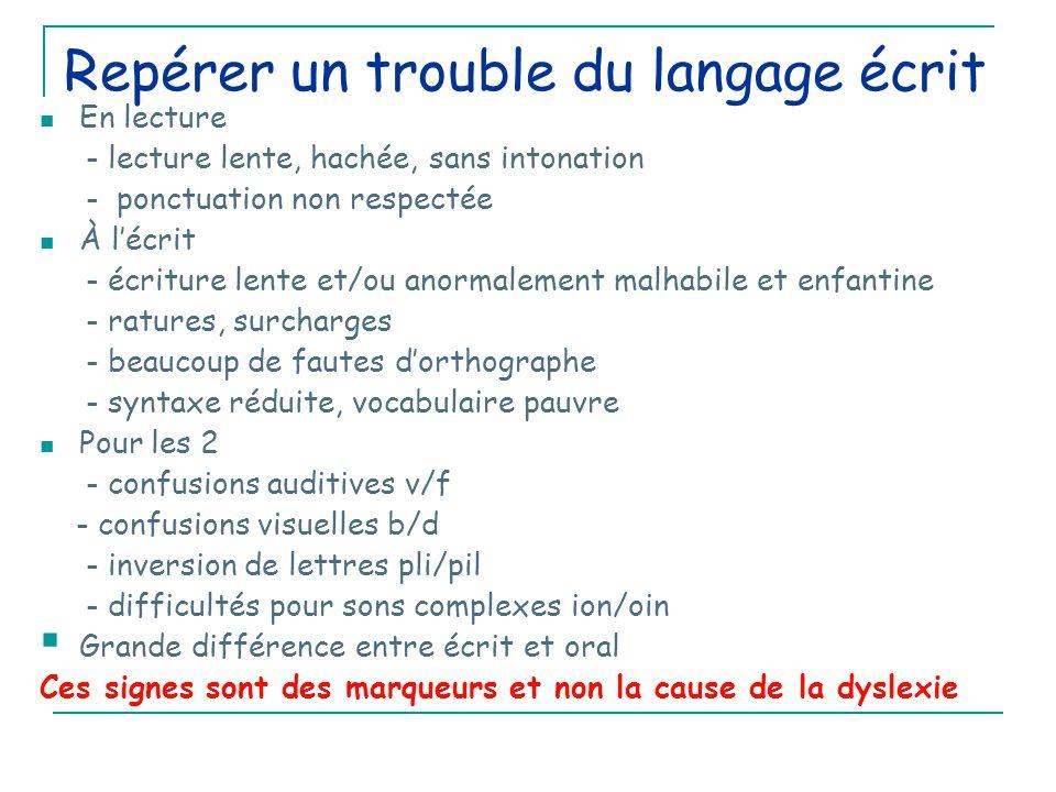 Repérer un trouble du langage écrit