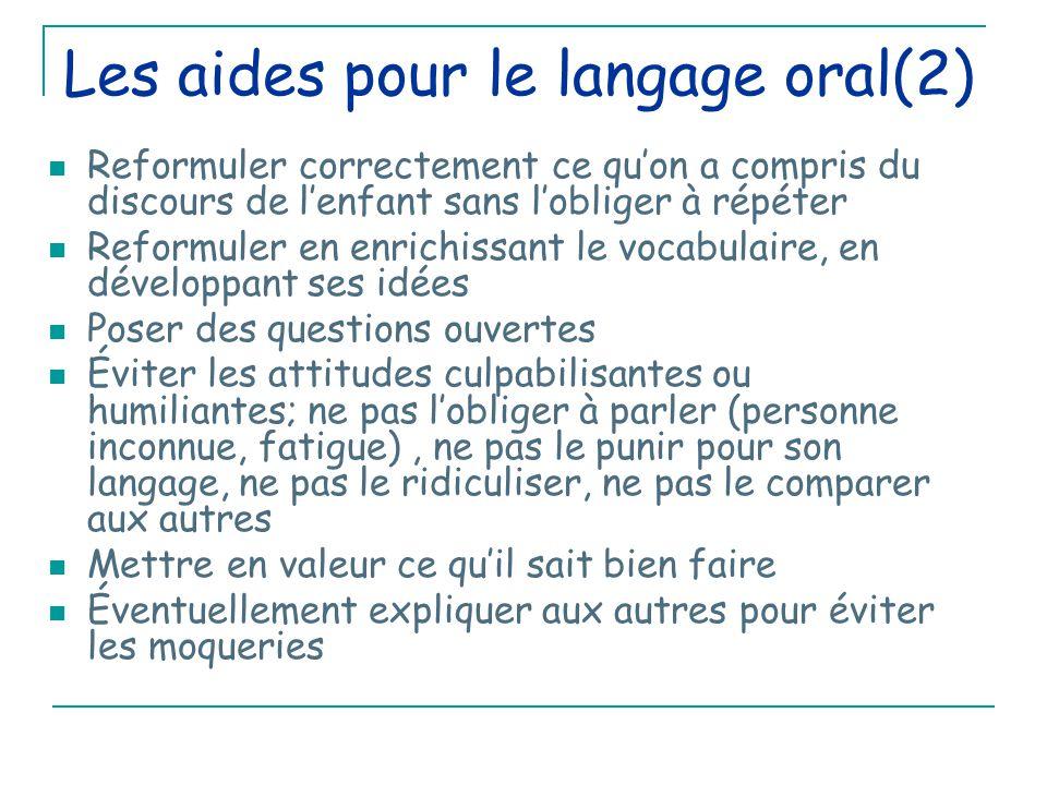 Les aides pour le langage oral(2)