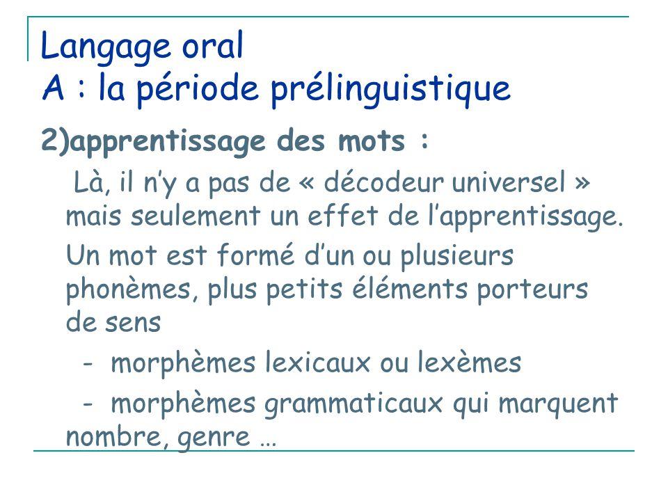 Langage oral A : la période prélinguistique