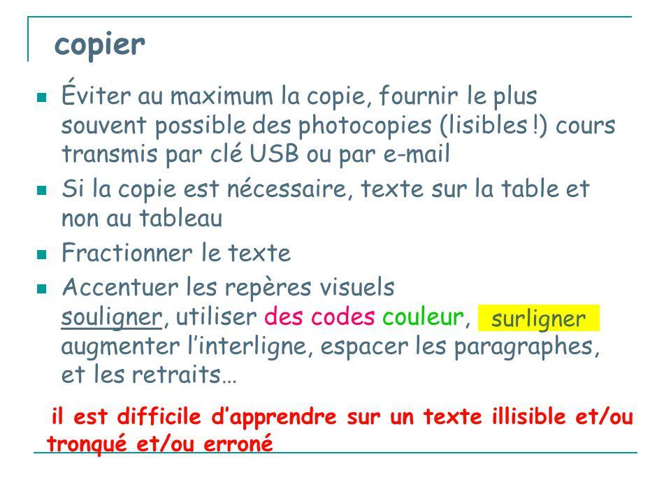 copier Éviter au maximum la copie, fournir le plus souvent possible des photocopies (lisibles !) cours transmis par clé USB ou par e-mail.