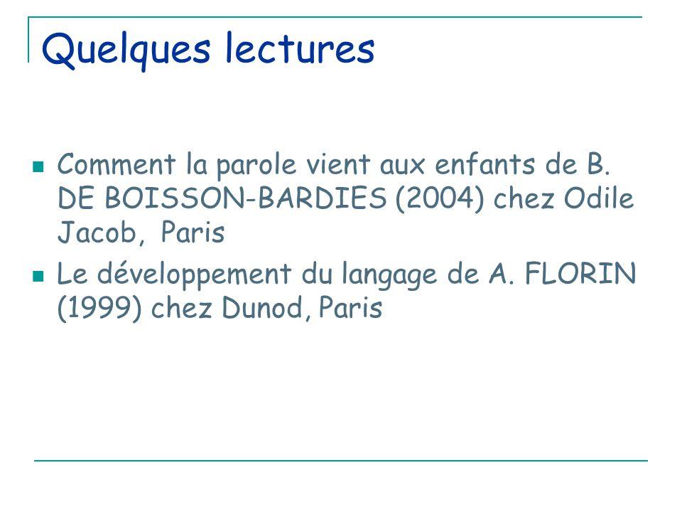 Quelques lectures Comment la parole vient aux enfants de B. DE BOISSON-BARDIES (2004) chez Odile Jacob, Paris.