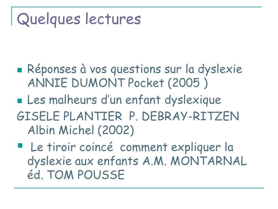 Quelques lectures Réponses à vos questions sur la dyslexie ANNIE DUMONT Pocket (2005 ) Les malheurs d'un enfant dyslexique.