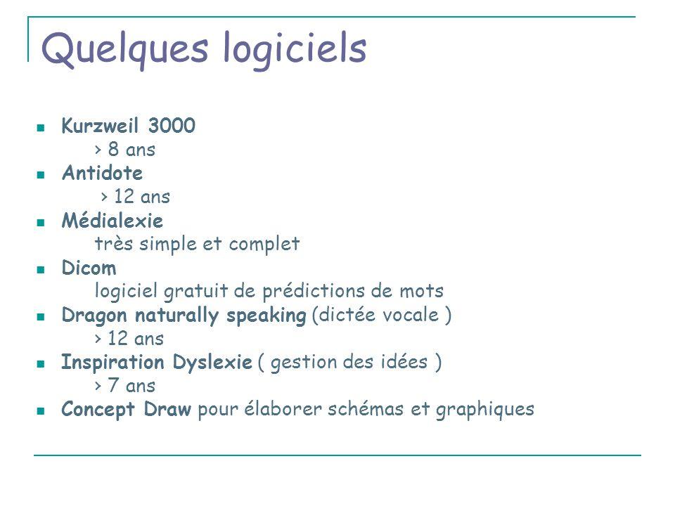 Quelques logiciels Kurzweil 3000 › 8 ans Antidote › 12 ans Médialexie
