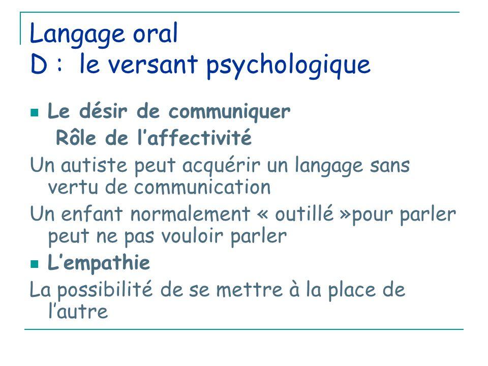 Langage oral D : le versant psychologique