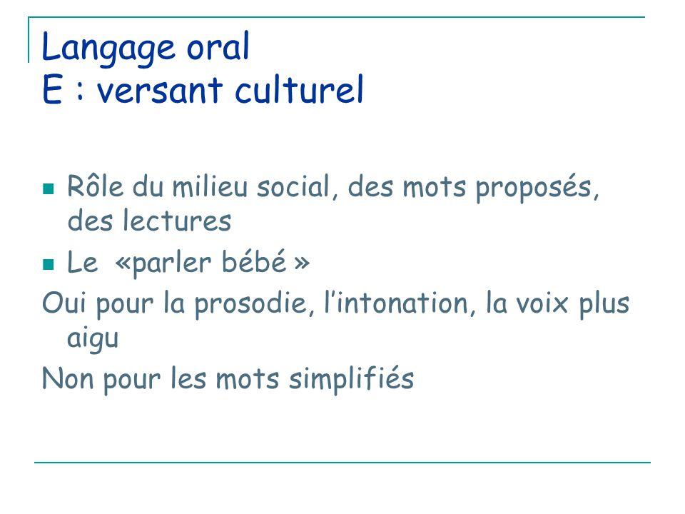 Langage oral E : versant culturel