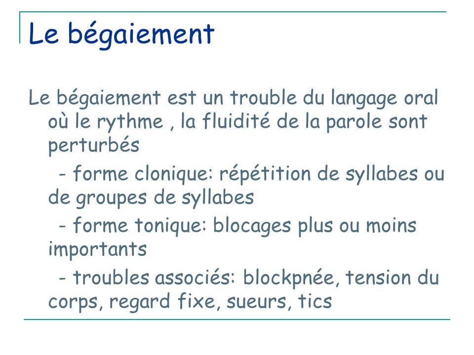 Le bégaiement Le bégaiement est un trouble du langage oral où le rythme , la fluidité de la parole sont perturbés.