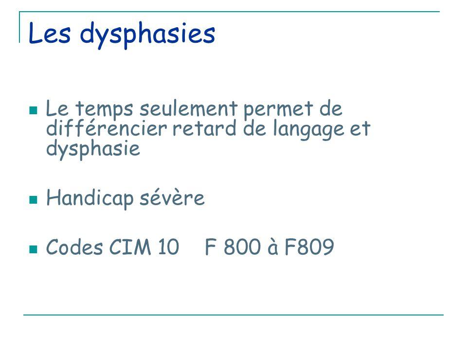 Les dysphasies Le temps seulement permet de différencier retard de langage et dysphasie. Handicap sévère.