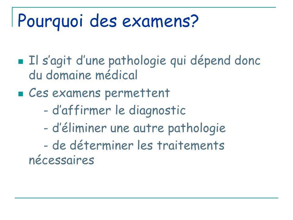 Pourquoi des examens Il s'agit d'une pathologie qui dépend donc du domaine médical. Ces examens permettent.
