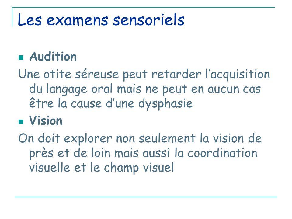Les examens sensoriels