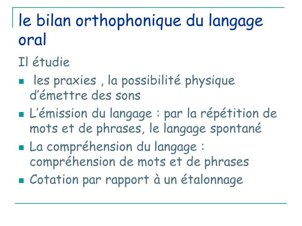 le bilan orthophonique du langage oral