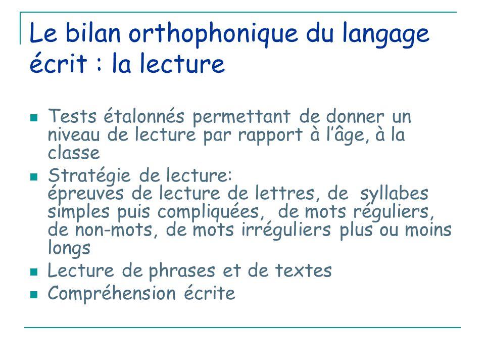 Le bilan orthophonique du langage écrit : la lecture