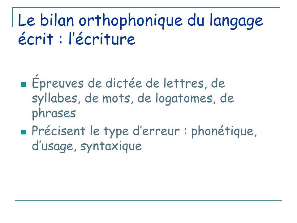Le bilan orthophonique du langage écrit : l'écriture