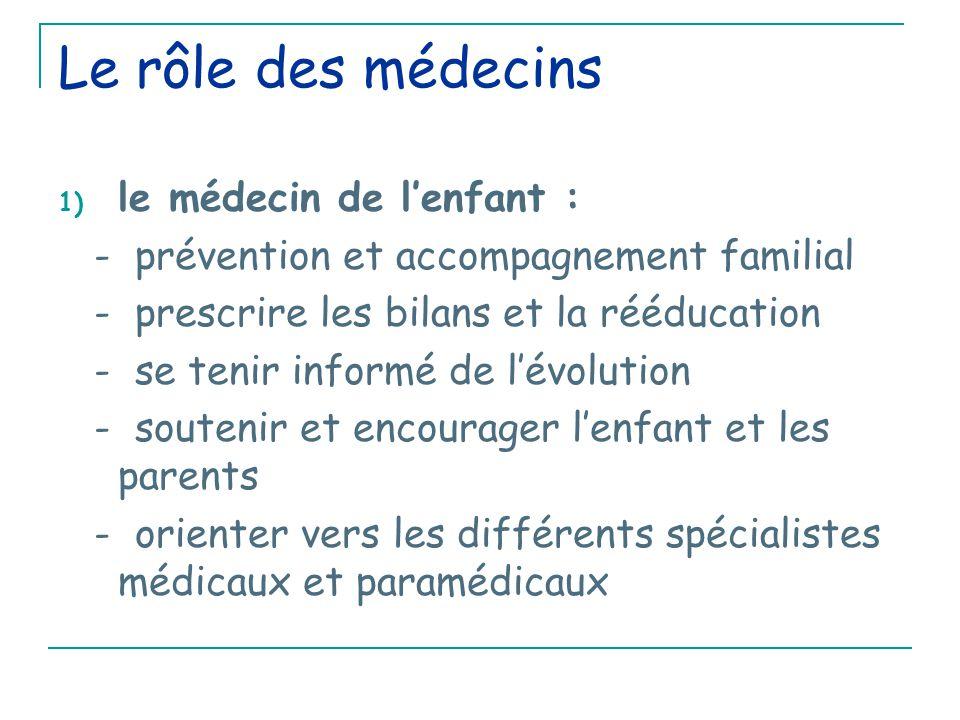 Le rôle des médecins le médecin de l'enfant :