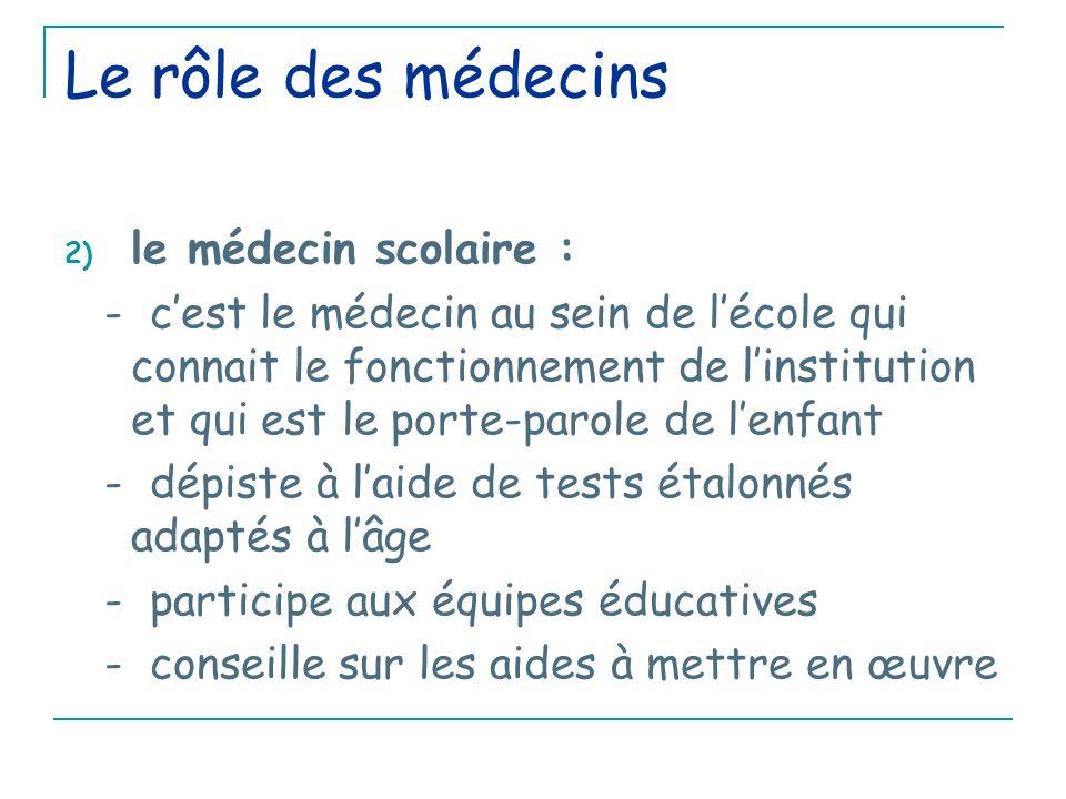 Le rôle des médecins le médecin scolaire :