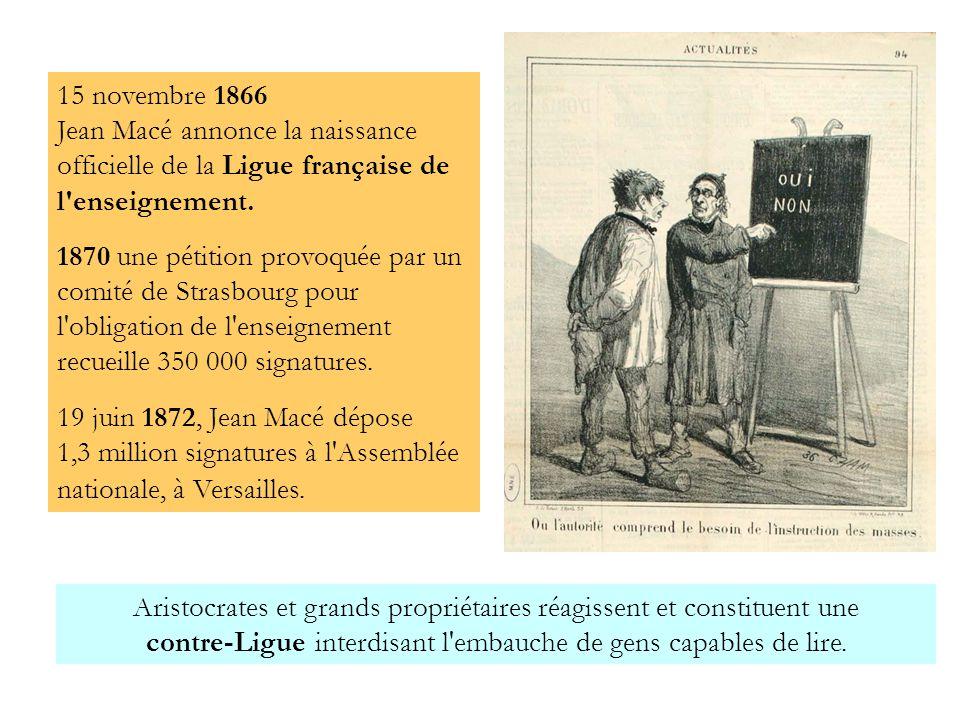 15 novembre 1866 Jean Macé annonce la naissance officielle de la Ligue française de l enseignement.