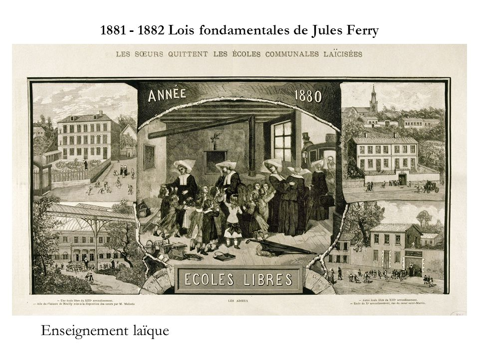 1881 - 1882 Lois fondamentales de Jules Ferry
