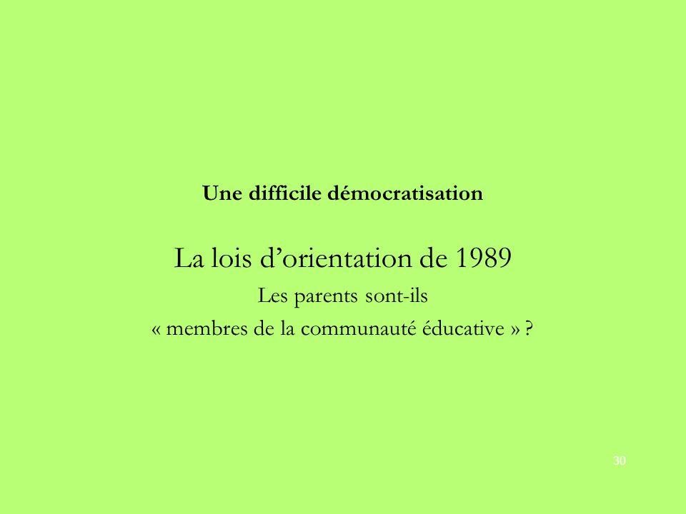 La lois d'orientation de 1989