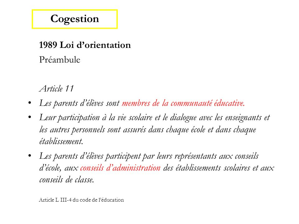 Cogestion Préambule Article 11