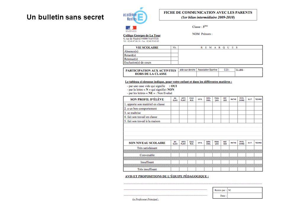 Un bulletin sans secret
