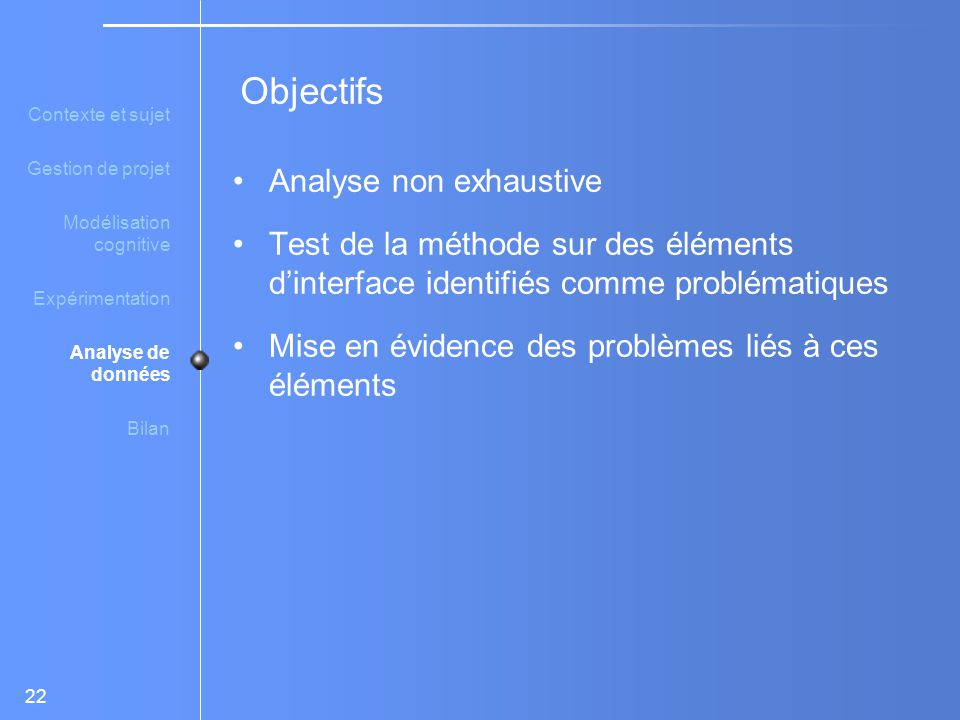 Objectifs Analyse non exhaustive