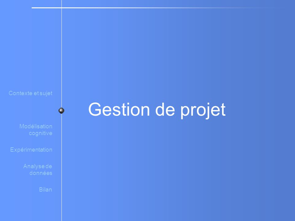 Gestion de projet Contexte et sujet Modélisation cognitive