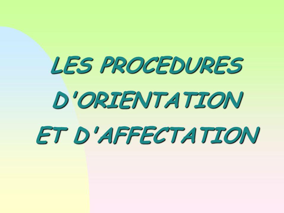 LES PROCEDURES D ORIENTATION