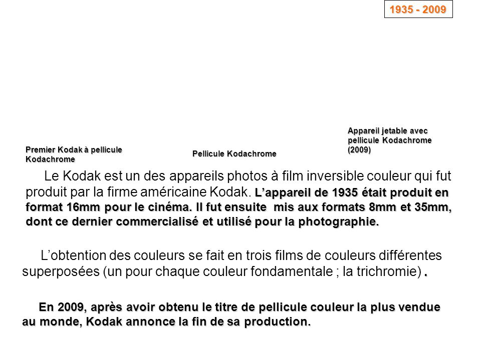 1935 - 2009 Appareil jetable avec pellicule Kodachrome (2009) Premier Kodak à pellicule Kodachrome.