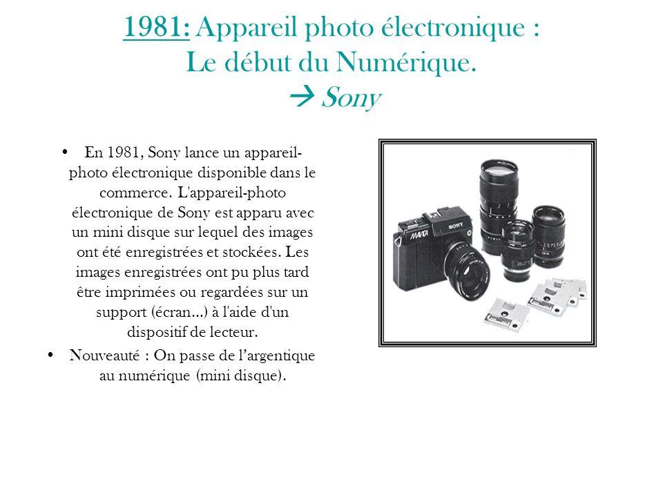 1981: Appareil photo électronique : Le début du Numérique.  Sony