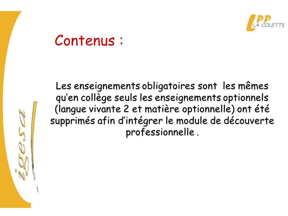Contenus :