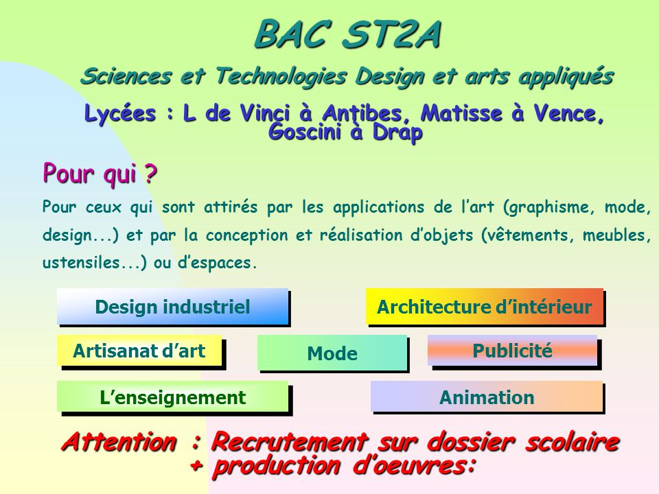 Attention : Recrutement sur dossier scolaire