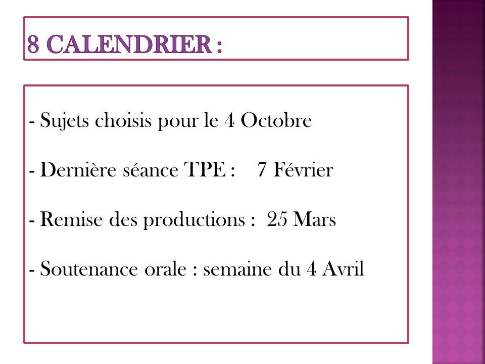 8 CALENDRIER : - Sujets choisis pour le 4 Octobre