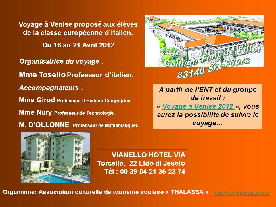 Voyage à Venise proposé aux élèves de la classe européenne d'italien.