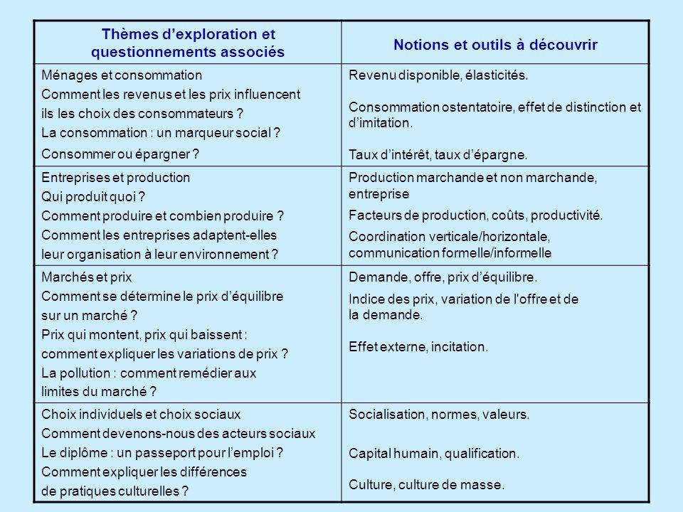 Thèmes d'exploration et questionnements associés