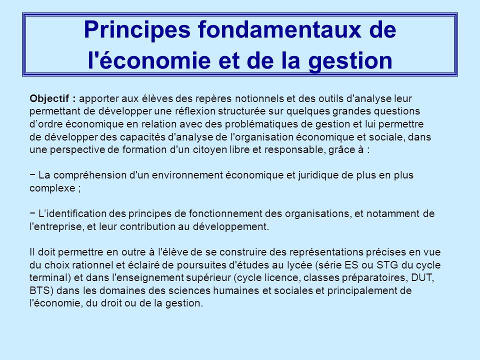 Principes fondamentaux de l économie et de la gestion