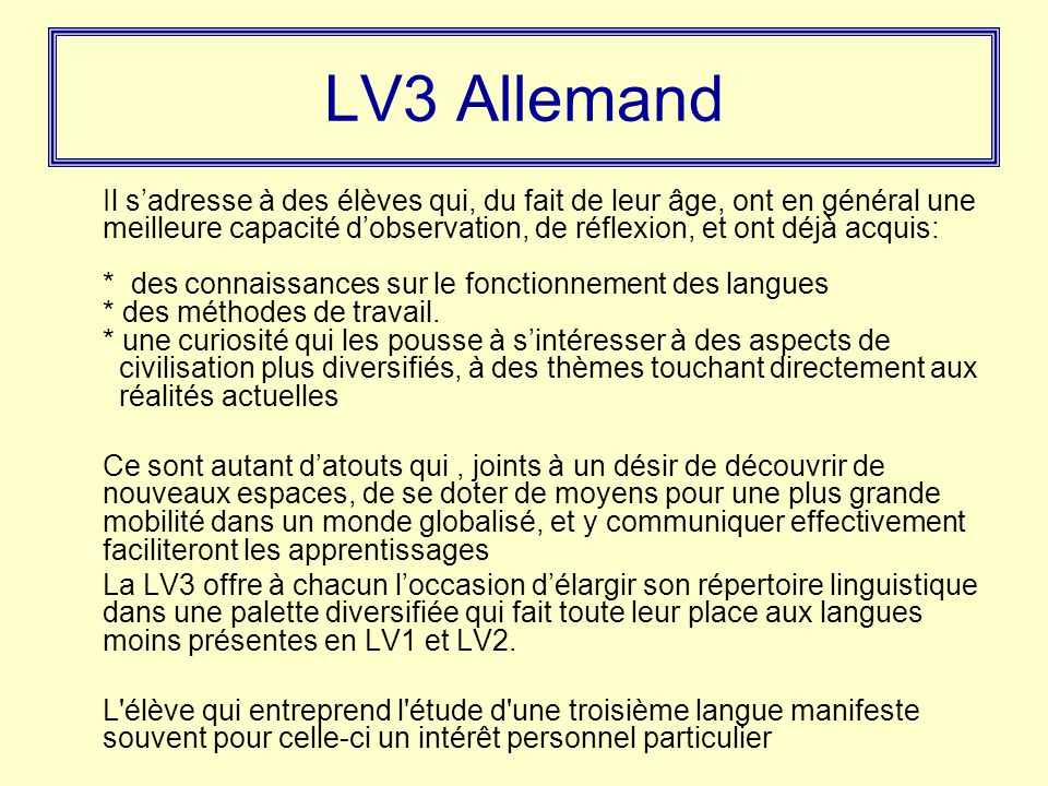 LV3 Allemand