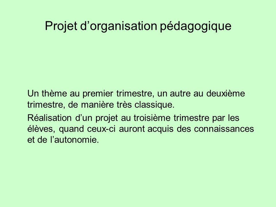 Projet d'organisation pédagogique