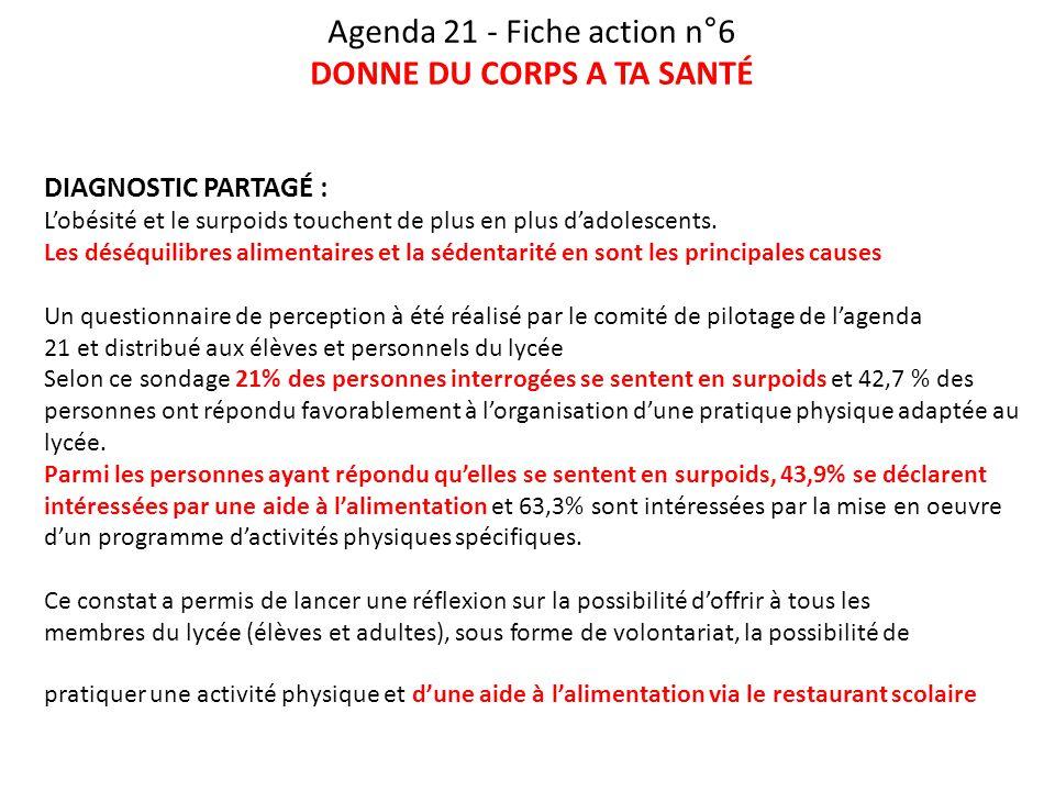 Agenda 21 - Fiche action n°6 DONNE DU CORPS A TA SANTÉ