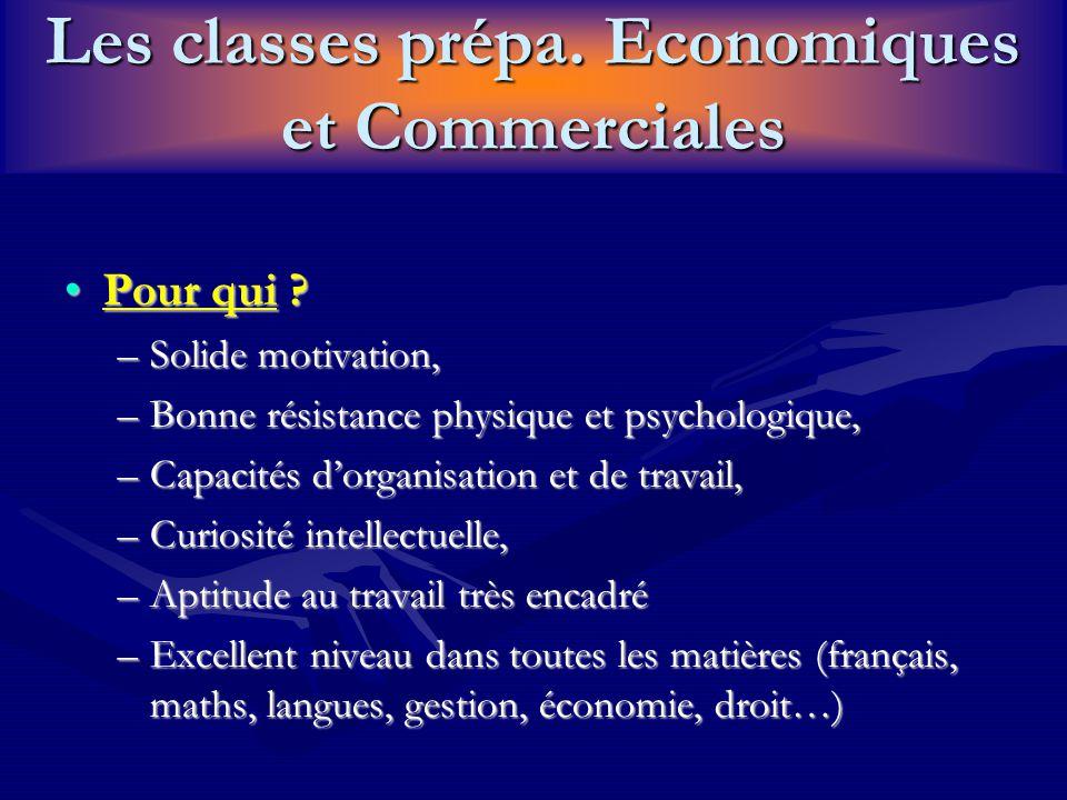 Les classes prépa. Economiques et Commerciales