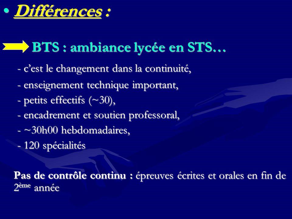 Différences : BTS : ambiance lycée en STS…