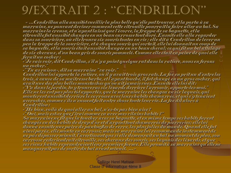 9/extrait 2 : ''Cendrillon''