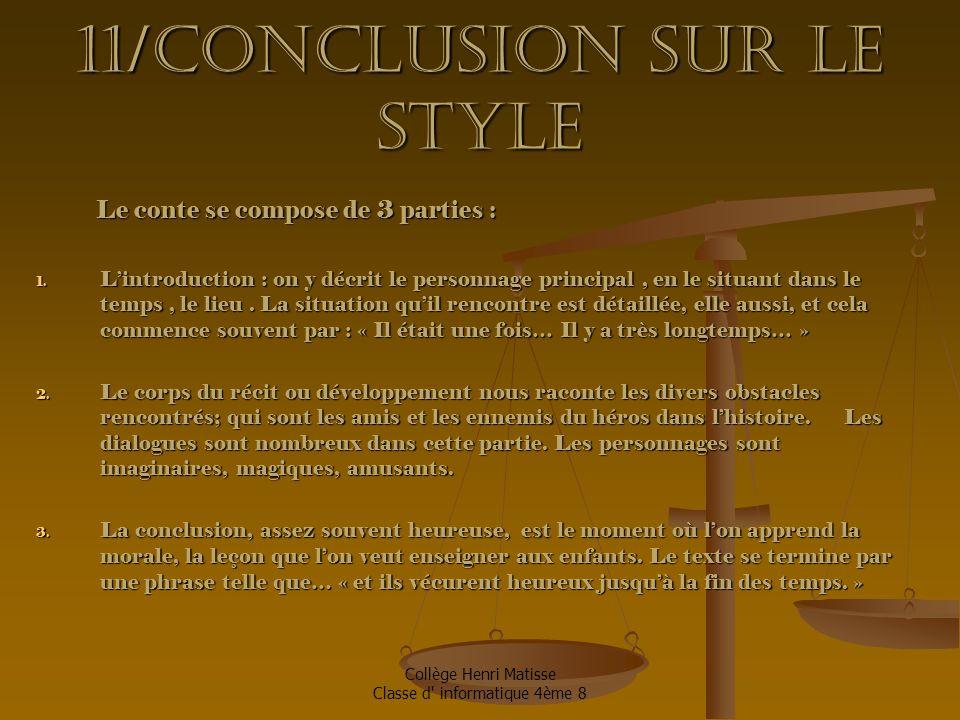 11/Conclusion sur le style