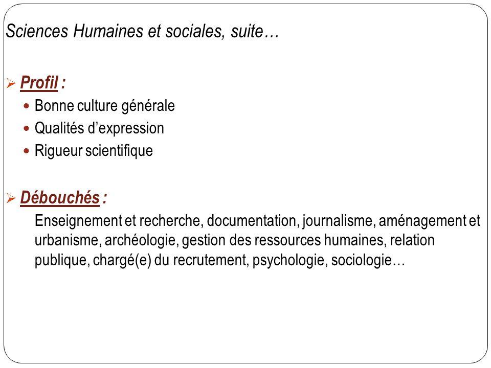 Sciences Humaines et sociales, suite…