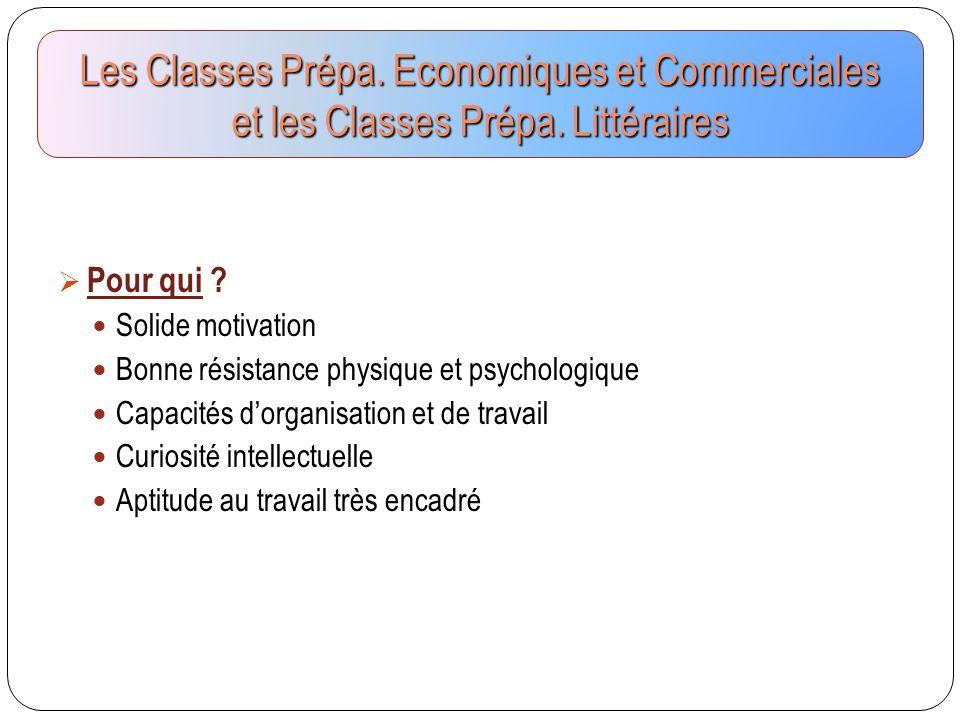 Les Classes Prépa. Economiques et Commerciales et les Classes Prépa