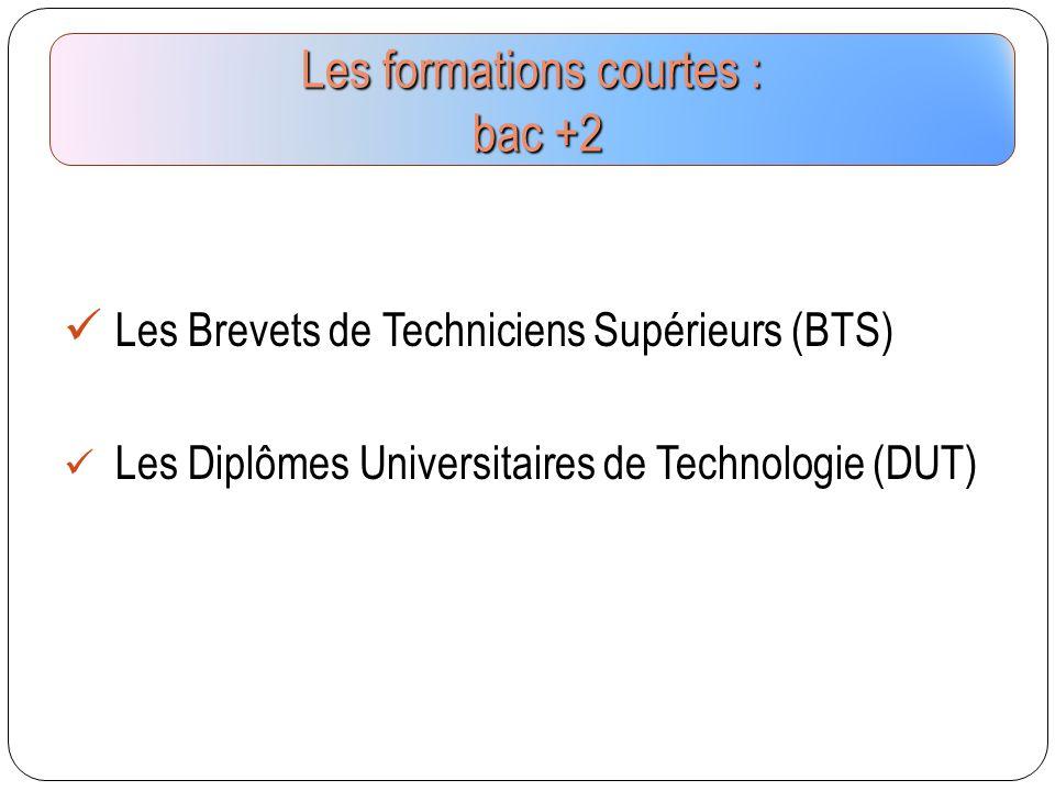 Les formations courtes : bac +2