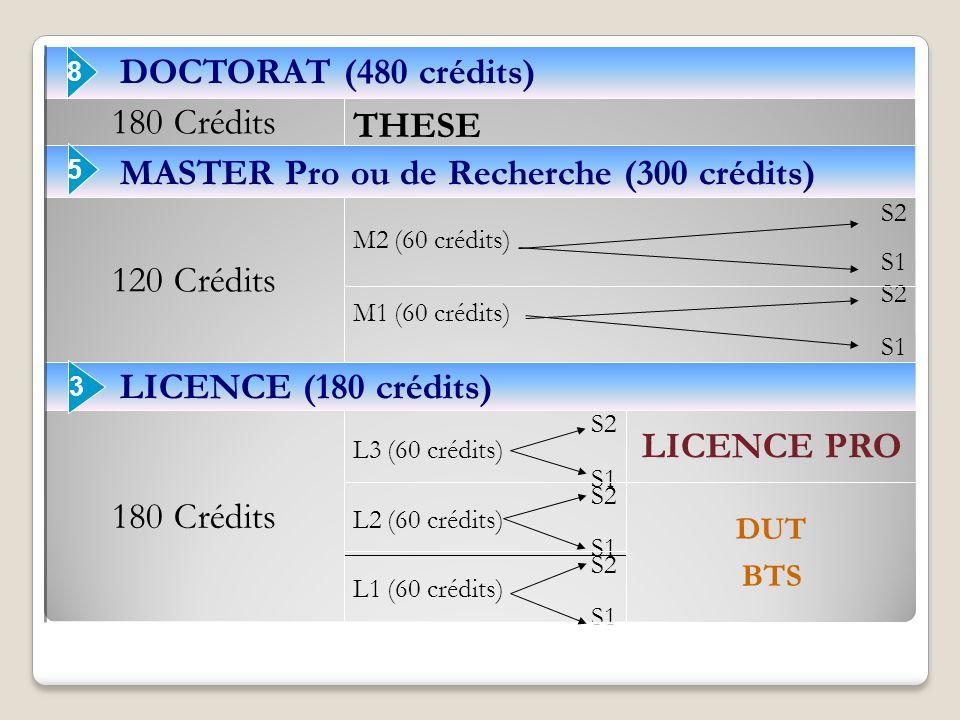 MASTER Pro ou de Recherche (300 crédits) THESE DOCTORAT (480 crédits)
