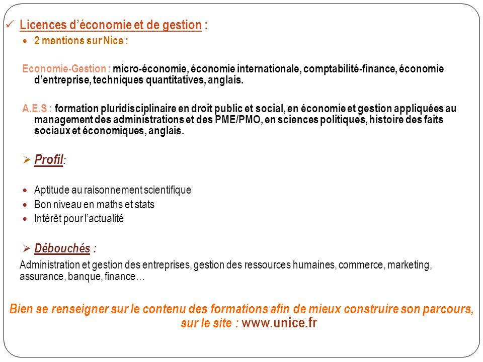 Licences d'économie et de gestion :