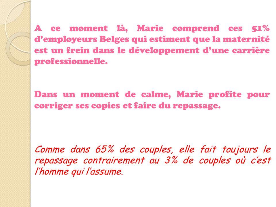 A ce moment là, Marie comprend ces 51% d'employeurs Belges qui estiment que la maternité est un frein dans le développement d'une carrière professionnelle.